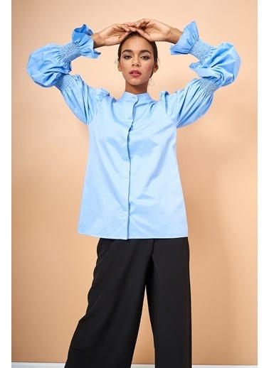 Eda Atalay Kol Detaylı Gömlek Mavi